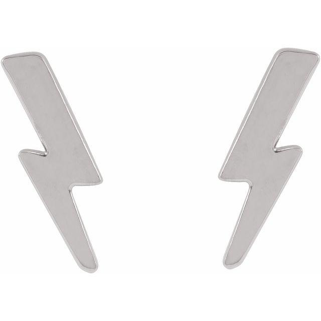 Sterling Silver Tiny Lightning Bolt Earrings