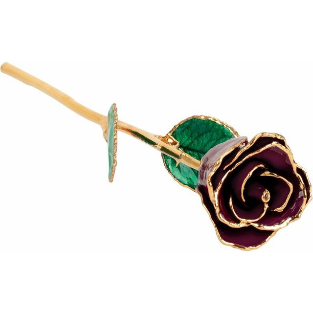 Lacquered Burgundy Rose with Gold Trim