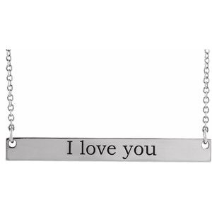 """Sterling Silver 34x4 mm Engravable Bar 18"""" Necklace"""