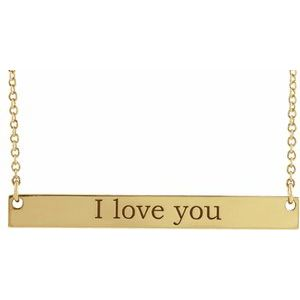 """14K Yellow 34x4 mm Engravable Bar 18"""" Necklace"""