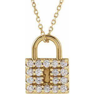 "14K Yellow 1/2 CTW Diamond Lock 16-18"" Necklace"