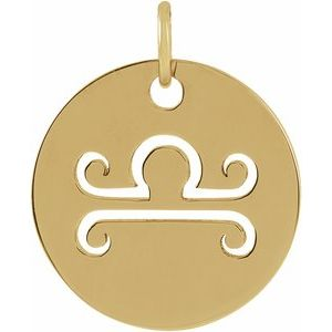 14K Yellow 16.5 mm Libra Zodiac Disc Pendant