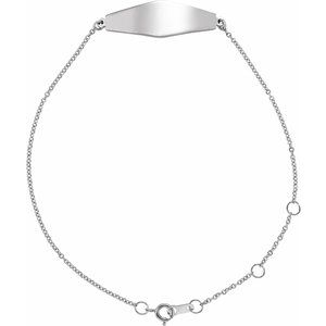 "Sterling Silver Curved Bar 6-7"" Bracelet"