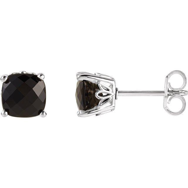 Sterling Silver 5x5 mm Cushion Onyx Earrings