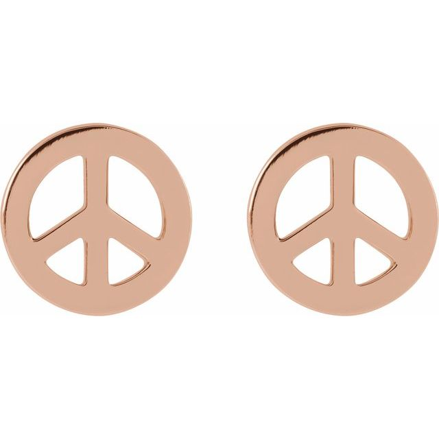 14K Rose Tiny Peace Earrings