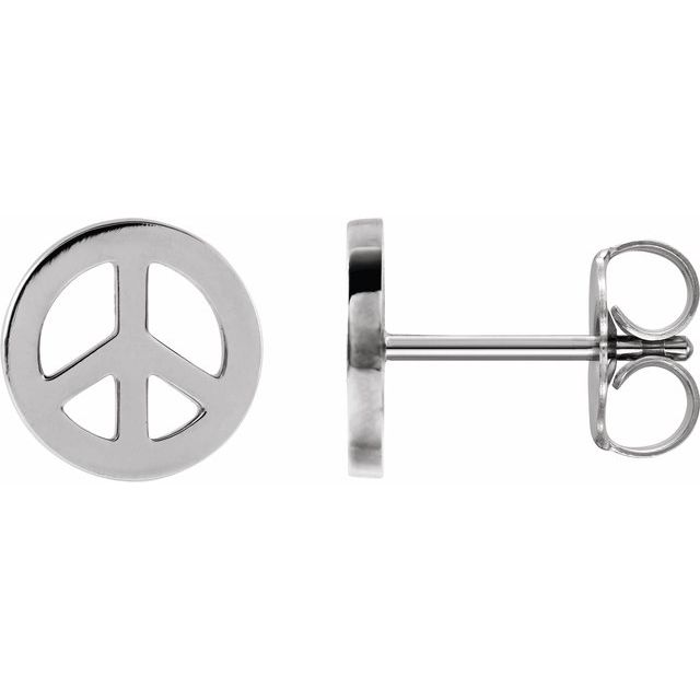 Sterling Silver Tiny Peace Earrings