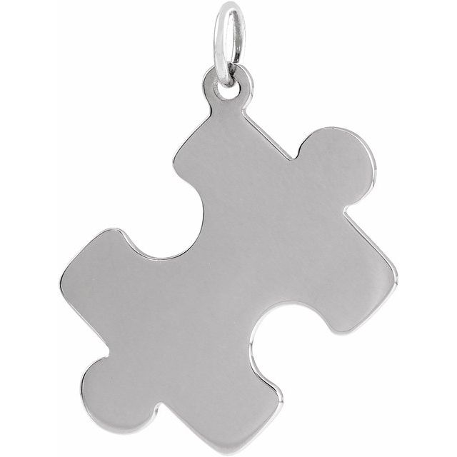 Sterling Silver 15.65x12 mm Puzzle Piece Pendant
