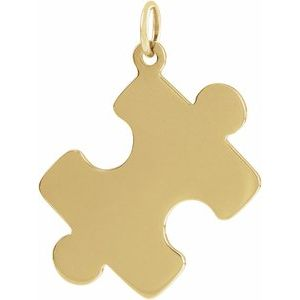 18K Yellow Gold-Plated Sterling Silver 22.65x18 mm Puzzle Piece Pendant
