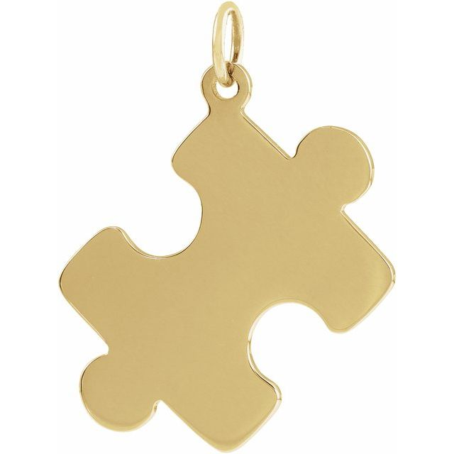 18K Yellow Gold-Plated Sterling Silver 15.65x12 mm Puzzle Piece Pendant