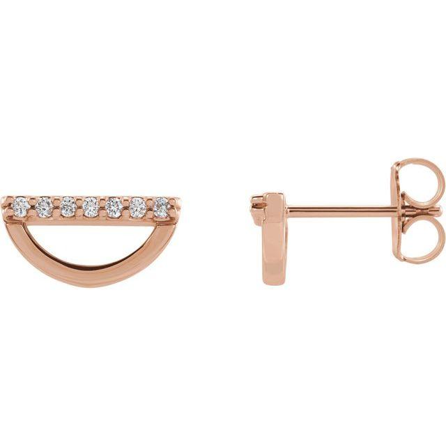 14K Rose 1/10 CTW Diamond Geometric Earrings