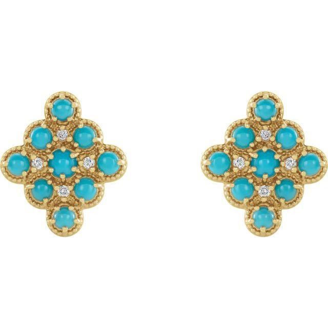 14K Yellow Turquoise & .03 CTW Diamond Geometric Earrings