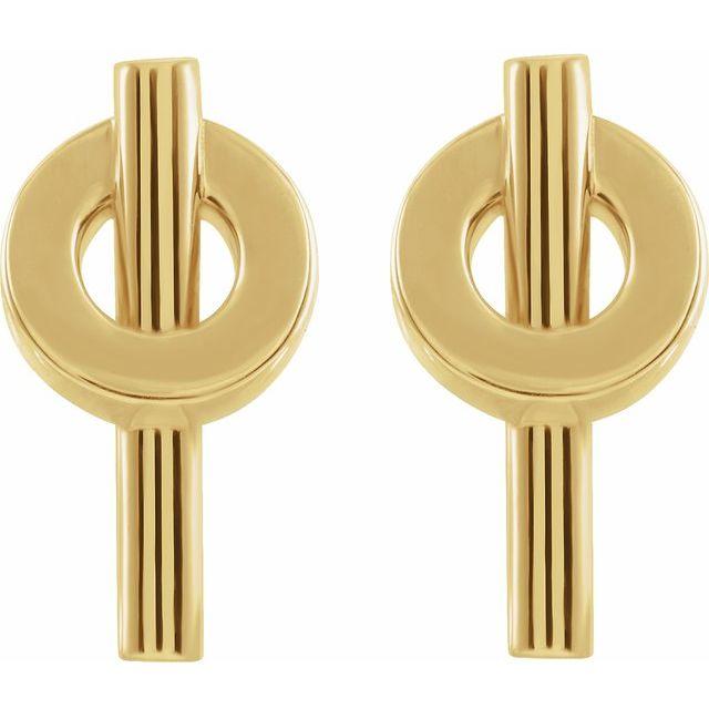 14K Yellow Negative Space Circle Earrings