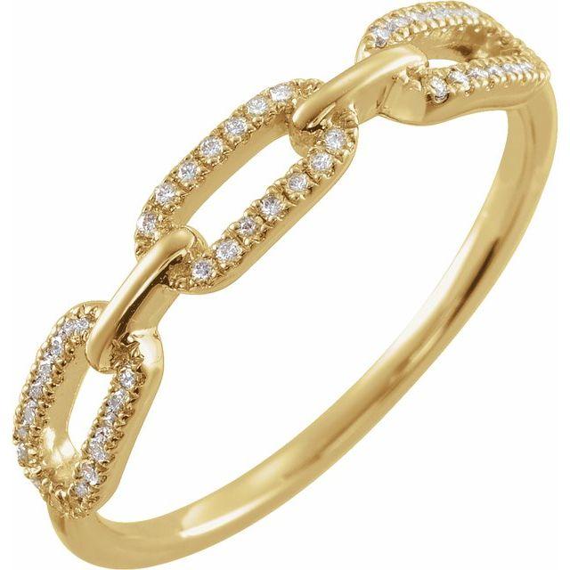 14K Yellow 1/6 CTW Diamond Chain Link Ring