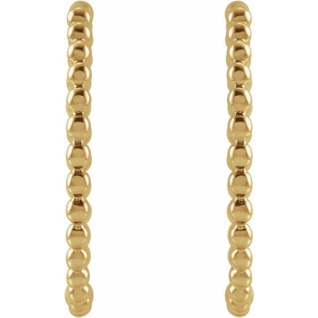 14K Yellow Beaded 20 mm Hoop Earrings