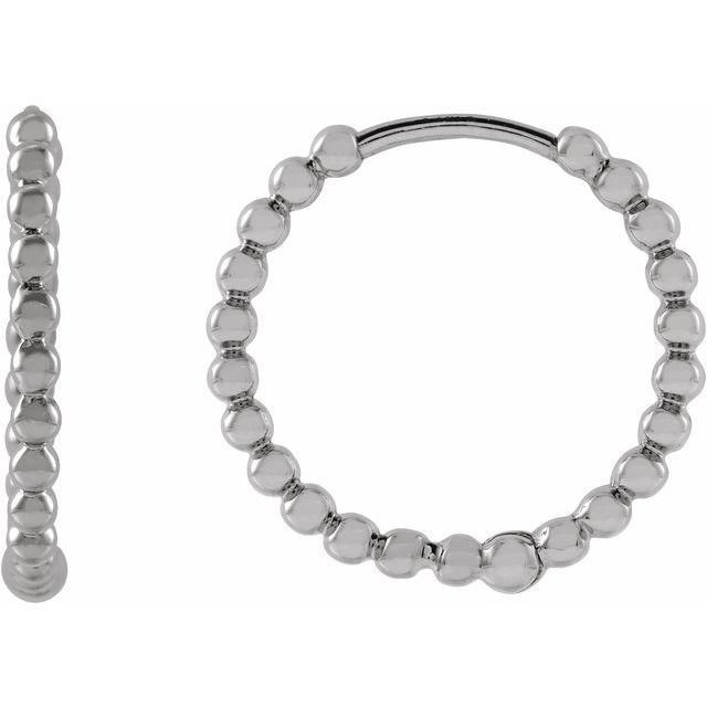 14K White 15 mm Beaded Huggie Earrings