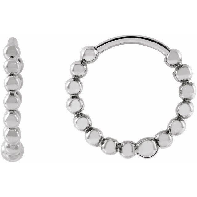 14K White 11 mm Beaded Huggie Earrings