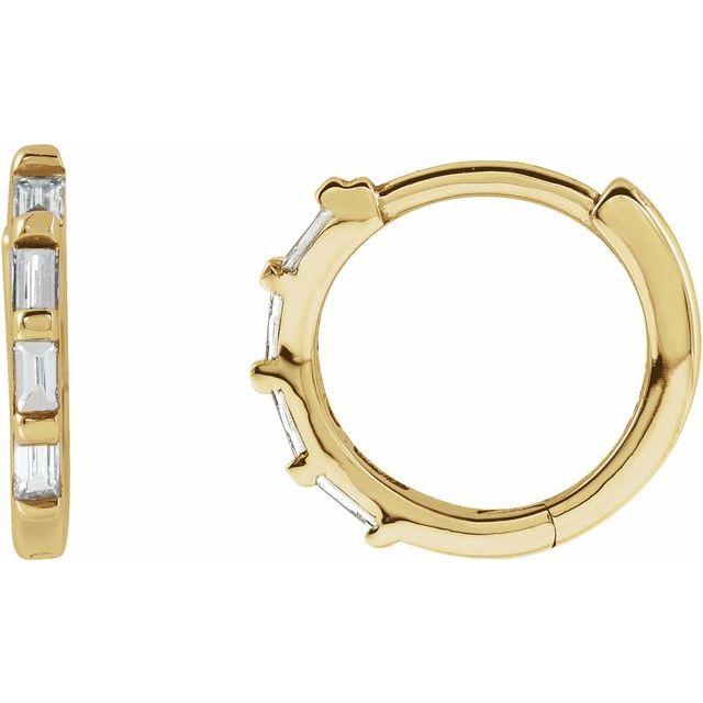 14K Yellow 1/10 CTW Diamond Huggie Earrings