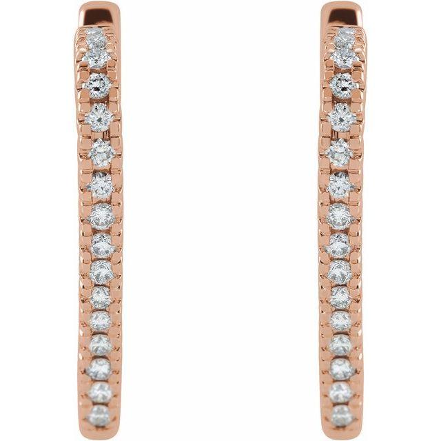 14K Rose 5/8 CTW Diamond Heart Hoop Earrings
