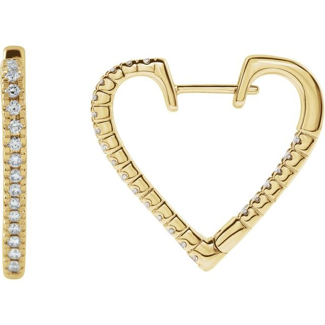 14K Yellow 5/8 CTW Diamond Heart Hoop Earrings