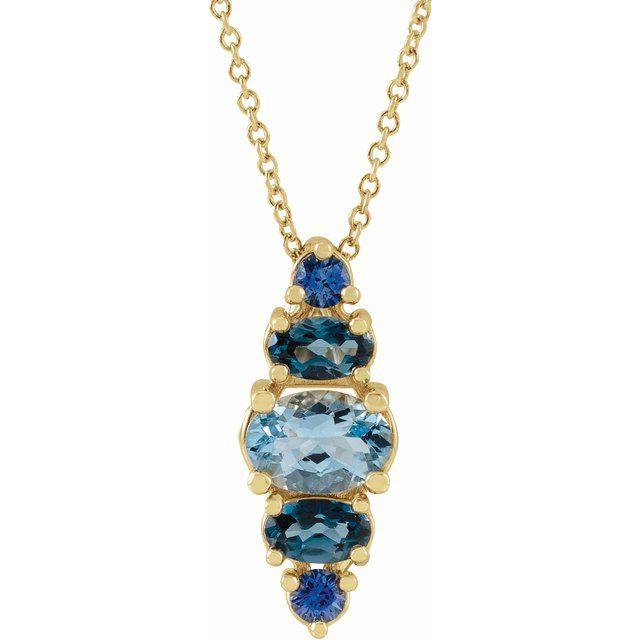 14K Yellow Blue Multi-Gemstone Bar 16-18