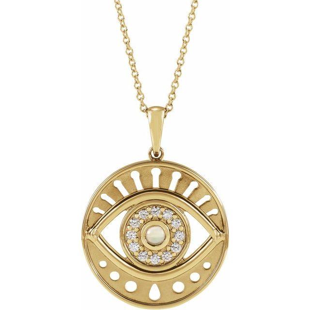 14K Yellow Ethiopian Opal & 1/6 CTW Diamond Evil Eye 16-18
