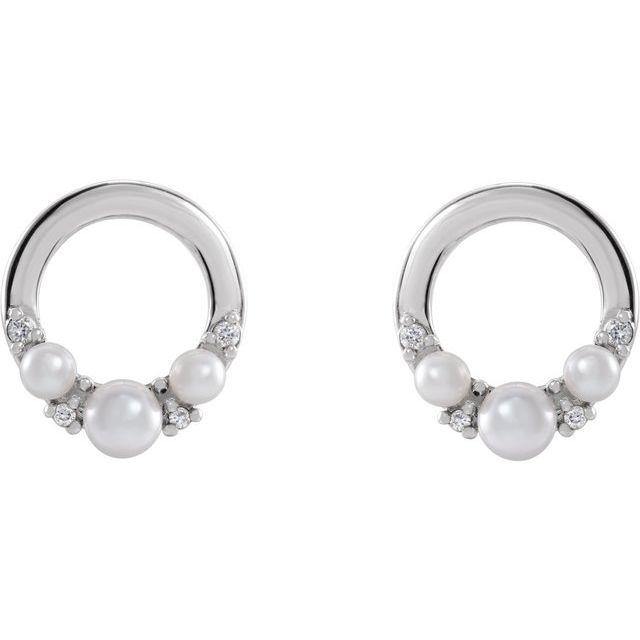 14K White Cultured Seed Pearl & .06 CTW Diamond Circle Earrings