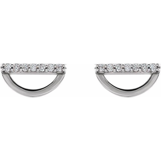 14K White 1/10 CTW Diamond Geometric Earrings