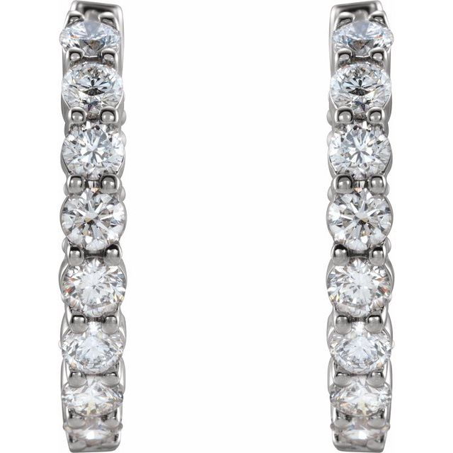 14K White 1 CTW Lab-Grown Diamond Inside-Outside Hinged 19.3 mm Hoop Earrings