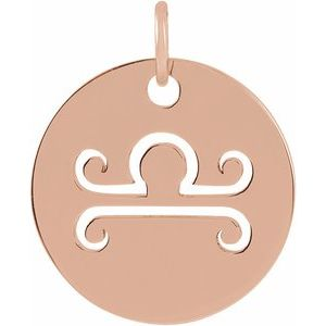 14K Rose 16.5 mm Libra Zodiac Disc Pendant