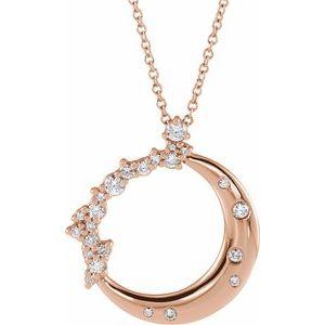 "14K Rose 1/4 CTW Diamond Crescent Moon 16-18"" Necklace"