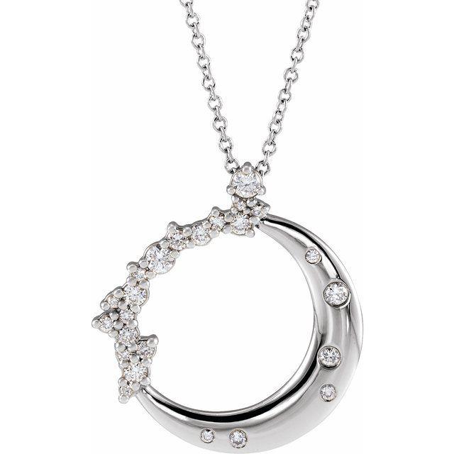 14K White 1/4 CTW Diamond Crescent Moon 16-18
