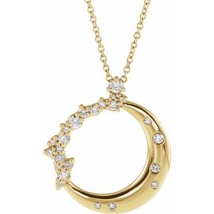 "14K Yellow 1/4 CTW Diamond Crescent Moon 16-18"" Necklace"