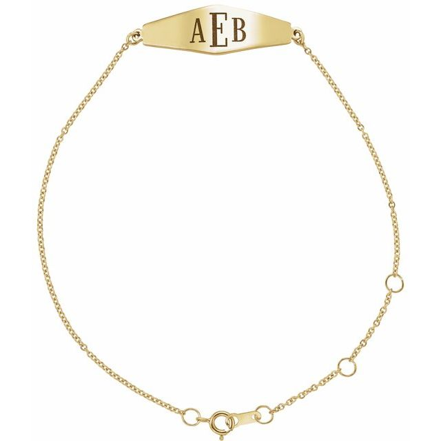 14K Yellow Engravable Curved Bar 6-7