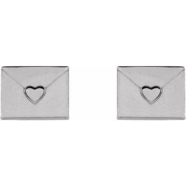 14K White Heart Envelope Earrings