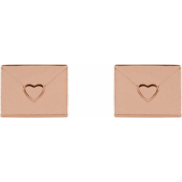 14K Rose Heart Envelope Earrings