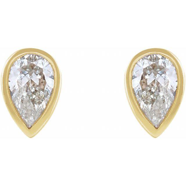 14K Yellow 1/10 CTW Diamond Micro Bezel-Set Earrings