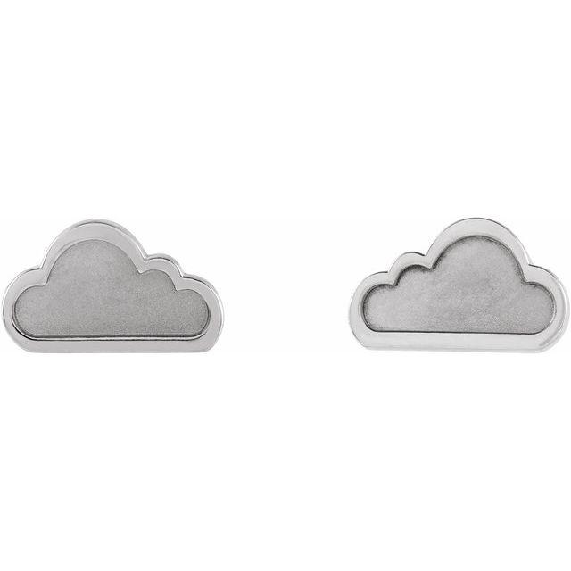 Sterling Silver Tiny Cloud Earrings