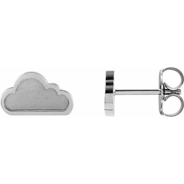 14K White Tiny Cloud Earrings