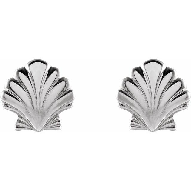 14K White Tiny Shell Earrings