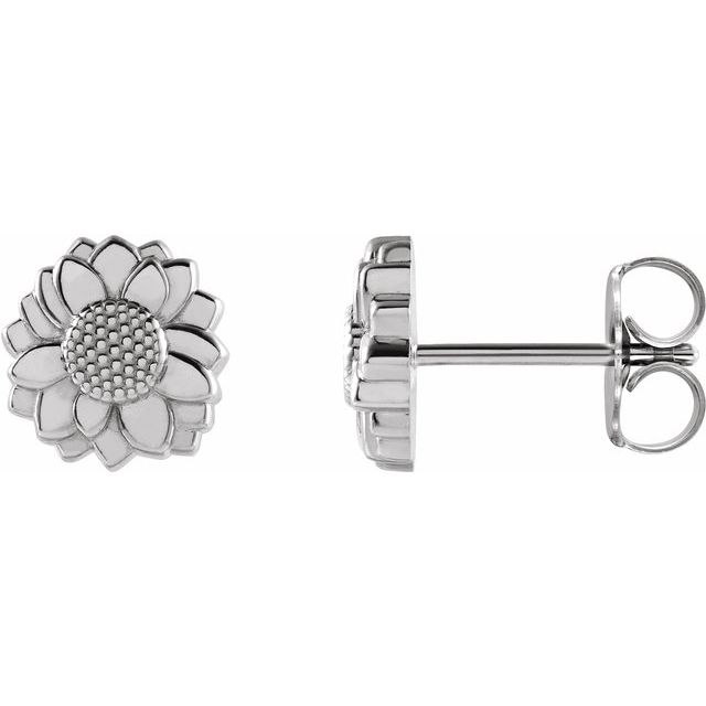 Sterling Silver Tiny Sunflower Earrings