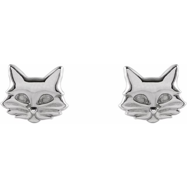Sterling Silver Tiny Cat Earrings