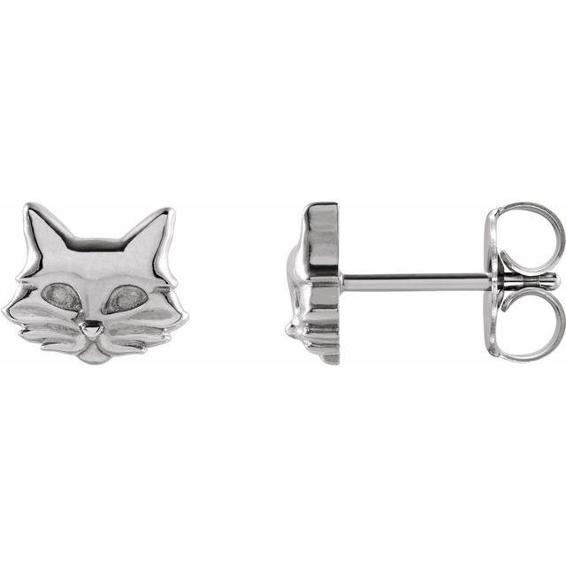 14K White Tiny Cat Earrings