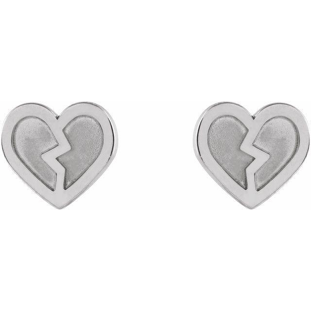 14K White Tiny Heart Earrings