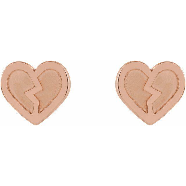 14K Rose Tiny Heart Earrings