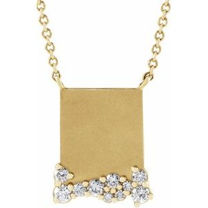 "14K Yellow Engravable 1/5 CTW Diamond 18"" Necklace"