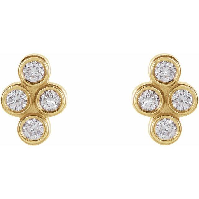 14K Yellow 1/10 CTW Diamond Bezel-Set Cluster Earrings
