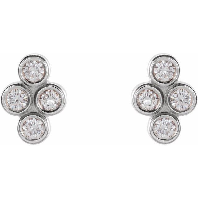 14K White 1/10 CTW Diamond Bezel-Set Cluster Earrings