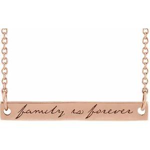 "14K Rose Family is Forever Bar 18"" Necklace"