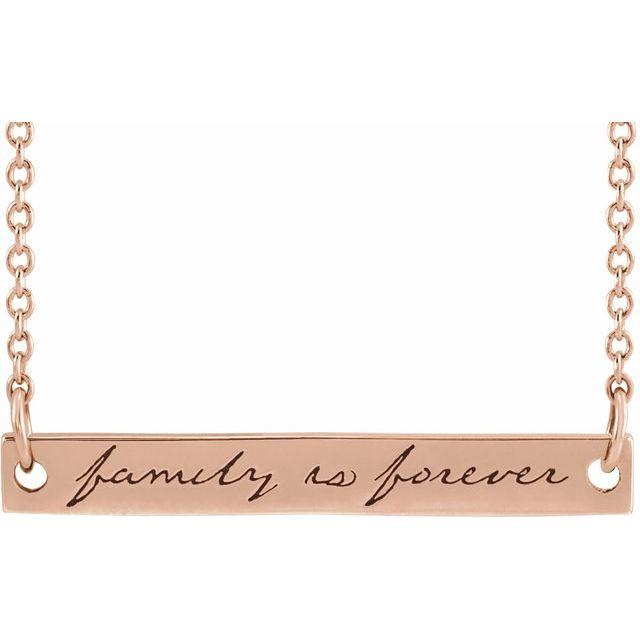 14K Rose Family is Forever Bar 18