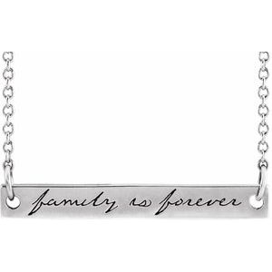 "Sterling Silver 35x6 mm Engraved ""Family is Forever"" Bar 18"" Necklace"